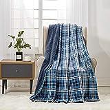 softan Sherpa Fleece Blanket, Manta Peluda de Felpa súper Suave para sofá Cama Manta de Piel difusa, 150cm × 200cm Twin, Plaid Azul