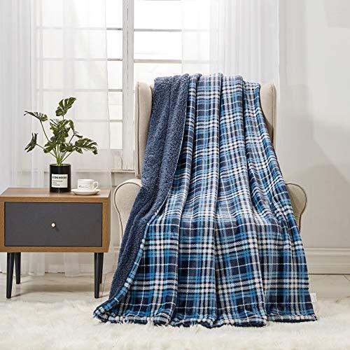 softan Sherpa Coperta in Pile, Coperta pelosa in Peluche Super Morbida per Divano Letto Coperta in Pelliccia sfocata, 150 cm × 200 cm Doppia, Plaid Blu