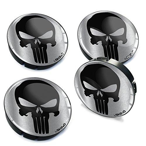 SkinoEu® 4 x 60mm Silikon Nabenkappen Kappen Punisher Skull Schädel Totenkopf Felgendeckel Radkappen Radnabendeckel Nabendeckel Auto Tuning C 79