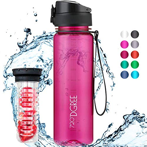 """720°DGREE Trinkflasche """"uberBottle"""" crystalClear +Früchtebehälter - 650ml - BPA-Frei - Auslaufsichere Wasserflasche für Kinder, Schule, Uni, Sport, Fitness - Tritan Sportflasche - Leicht, Bruchsicher"""