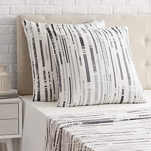 AmazonBasics - Funda de almohada de satén - 80 x 80 cm x 2, Gris a rayas texturizado