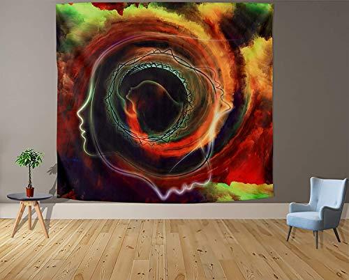 Tapiz blanco y negro Luna Estética Misterio Chakra Meditación Planeta Tapiz de pared Salón Decoración Tapiz a2 180x200cm