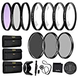 58mm Precision 10-PC Filter Kit Accessory Bundle - Includes UV, CPL, FLD, ND2, ND4, ND8 and 4 Macro Close-up Filters, Lens Hood, Cap, Cases and More