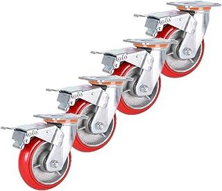 Industriële zware PU-wielen x4, rode trolleywielen, stille universele wielen, gebruikt om meubels en apparatuur te verplaa...