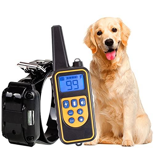 MZ-880 Erziehungshalsband Halsband Hund Mit Fernbedienung Leder Halsband Breit Haustierhalsband für Grosse Kleine Hunde Hunter Jagdhunde Haustiertraining