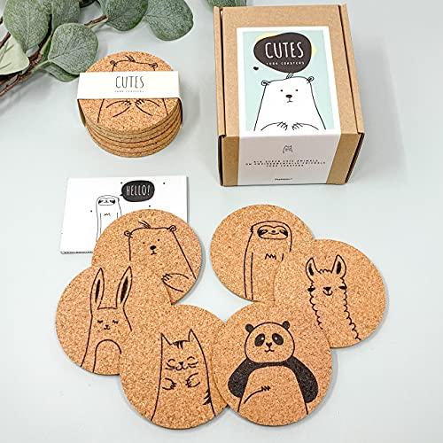 PepMelon - CODE33001 - Cutes - Sottobicchieri in sughero, rotondi, set di 6 pezzi, sottobicchieri ecologici con motivi animali