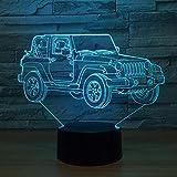 BFMBCHDJ Jeep Voiture 7 Coloré USB 3D Lampe Chambre Bureau Bureau Décoration Maison Lampe De Table Enfant Veilleuse De Noël De Noël