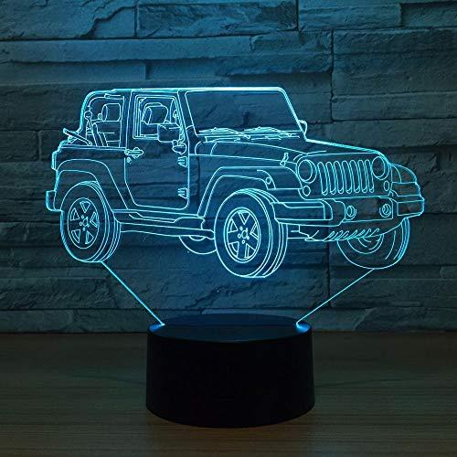 BFMBCHDJ Jeep Car 7 Bunte USB 3D Lampe Schlafzimmer Büro Dekoration Schreibtisch Tischlampe Kind Nachtlichter Weihnachten