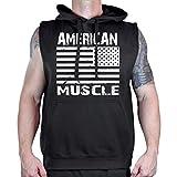 Interstate Apparel Inc American Muscle USA Flag Men's Bodybuilding Fleece Vest Hoodie Black (5XL)