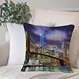 Qoqon Funda de Almohada, Funda de cojín Juego de Apartamentos, Manhattan Skyline con Puente de Brooklyn y The Towers of Lights en NHome Decor Funda de cojín Cozy Square para sofá Funda de Almohada