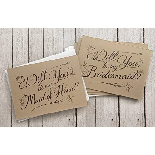 Flowers Bridal Party Proposal Note Cards Wedding Party Card Set Printed Will You Be My Bridesmaid Maid of Honor Other Titles Flower Girl