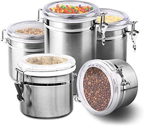 Le'raze [Set of 5] Stainless Steel Airtight Canister Set, Durable Caddy & Food Storage Container for Kitchen Counter, Tea, Sugar, Coffee, Candy, Flour Canister with Clear Acrylic Lids & Locking Clamp