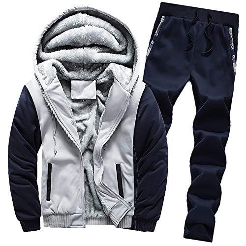 Aiserkly Herren Jogginganzug, Trainingsanzug, Sportanzug, Freizeitanzug, Hausanzug, Winter Verdicken Sporthose+Hoodie Zwei-Teilig Streetwear X-B-Grau L