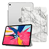 Fintie Case for iPad Pro 11 Inch 1st Generation 2018 [Supports 2nd Gen Pencil Charging Mode] - Lightweight SlimShell Cover with Translucent Frosted Back Protector, Auto Wake/Sleep, Marble White