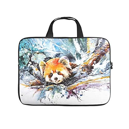 Facbalaign Malerei - Bolsa para ordenador portátil, diseño de panda roja, para hombre y mujer, portátil, suave, resistente al desgaste, con asa