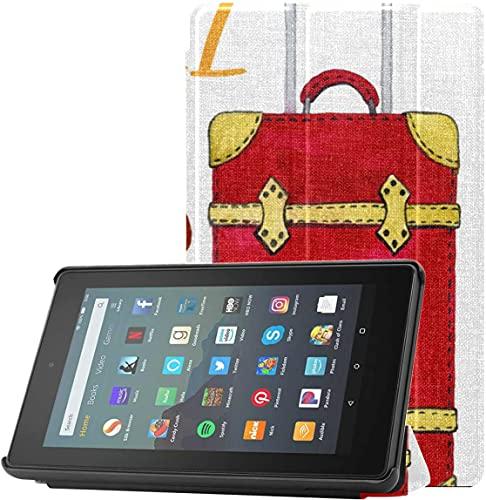 Cover New Fire 7 Estuche Paquete de Viaje y Turismo Acuarela Kindle Fire 7 Estuche 2019 para Tableta Fire 7 (novena generación, Lanzamiento de 2019) Ligero con Reposo automático/activación
