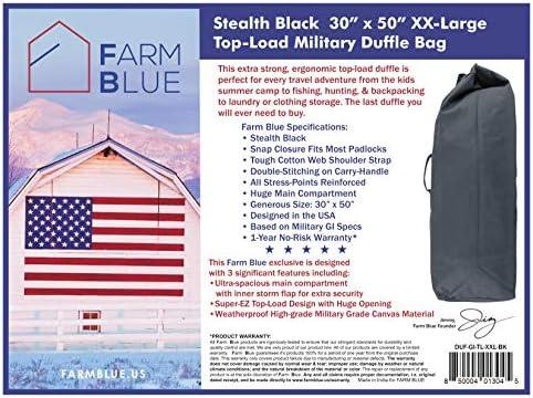 "Farm Blue Top Load Duffle Bag - XX Large Military Duffel Bags - Heavy Duty Army Grade Cotton Canvas Duffle Bags For Men Women & Students - XXL Top Loading Tactical Gear Sack (Black, XX-Large) 30""x50"""
