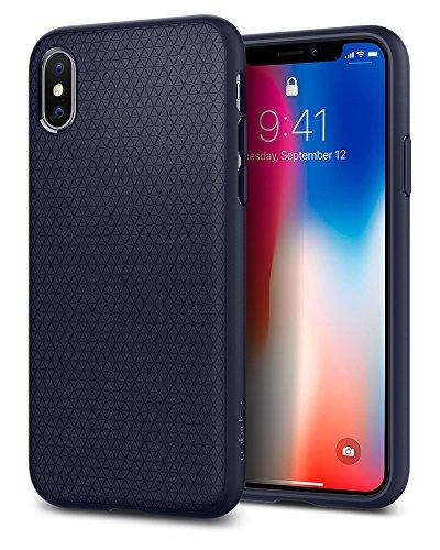 Spigen Funda Liquid Air Compatible con iPhone XS y Compatible con iPhone X - Azul Noche