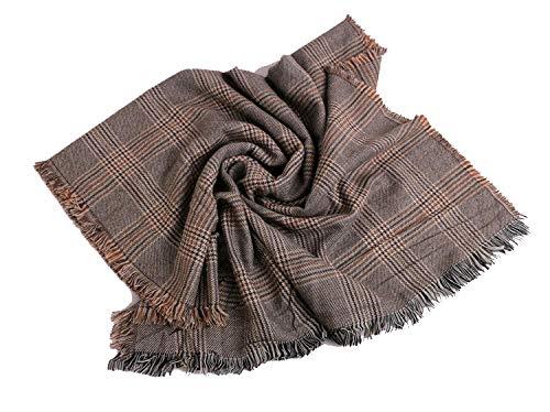 Xuejia Estrella de chal grueso a cuadros con la misma bufanda a cuadros chal dibujado a mano-Beige_205cm