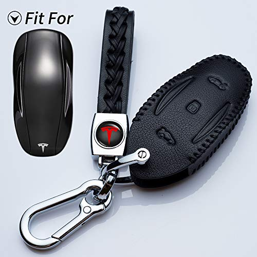 Hey Kaulor for Tesla Key Fob Cover Leather Keyless Entry Remote Fob Shell Leather Protector Case for Tesla Model S/Model X