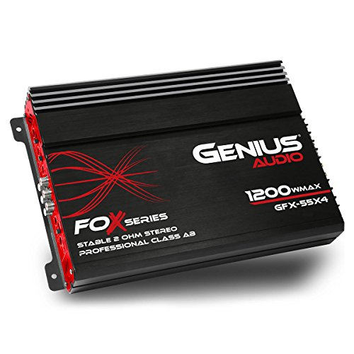 Genius GFX-55X4 1200 Watts-Max Car Amplifier 4-Channels Professional Class-AB 2-Ohm Stable Stereo
