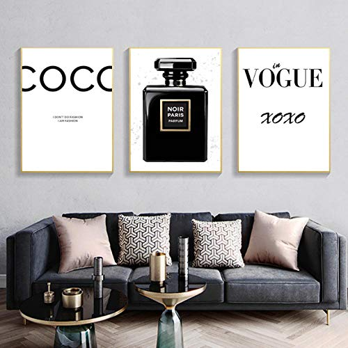 kldfig Moderne muurkunst Home Decor parfum fles canvas schilderij Vogue muurschildering voor woonkamer mode poster en prints 40 * 50cm-niet ingelijst-3 stuks