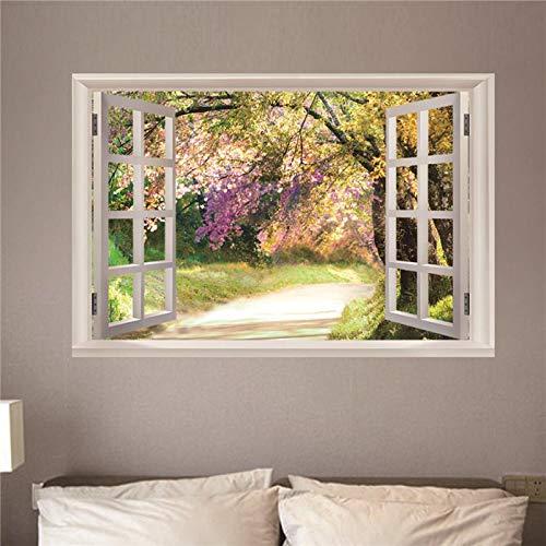 3D Autocollant Mural Fausse Fenêtre Arbre à fleurs Stickers Muraux en PVC - Trompe l'oeil Fenêtre Mural Art Stickers pour Salon Chambre Décoration 60cm*90cm