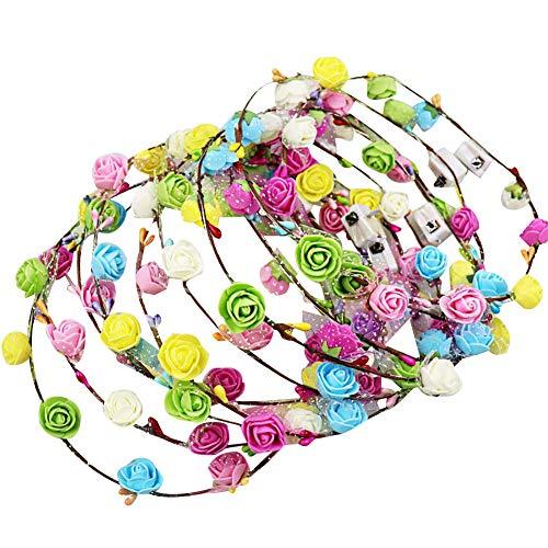 JGONas Corona de flores LED para mujeres, niñas y niños, guirnalda de flores, guirnalda de pelo, corona de ratán, cinta para el pelo, para bodas, Navidad, Halloween, fiestas, color aleatorio