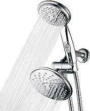 HOTEL SPA - Shower Heads with Handheld Spray - High Pressure Shower Head - 6 Inch Showerhead, 4 Inch Handheld Shower Head - 2-in-1, 30-Setting Shower Heads, 5-to-7 Foot Shower Hose, Showerspa (Chrome)