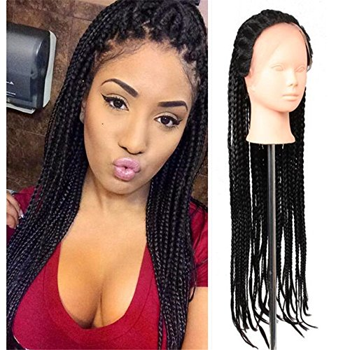 81,3 cm Synthetische Lace Front Perücke 1B schwarz Micro Baby Hair Braid Perücken mit für Frauen mit Hitzebeständige Kunstfaser Box Braid Perücke (32 zoll, schwarz)