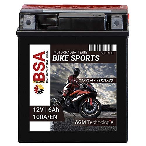 BSA Motorradbatterie AGM 100A/EN 12V 6AH YTX7L-BS Erstausrüsterqualität