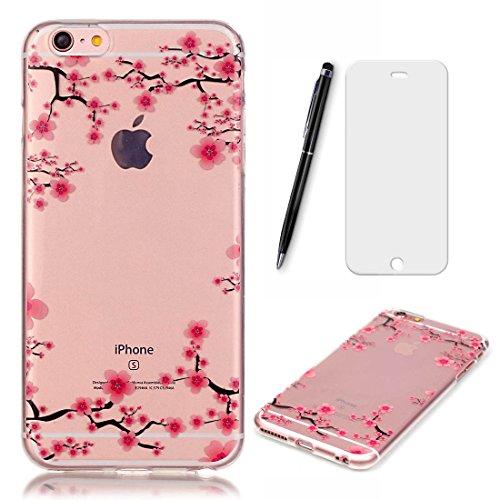 Lotuslnn Coque iPhone 6S, Coque iPhone 6 (4.7 Pouces) [bleu, plume] TPU Silicone Transparent Housse pour iPhone 6 / 6S (Etui+ Stylus Pen + Screen Protector)
