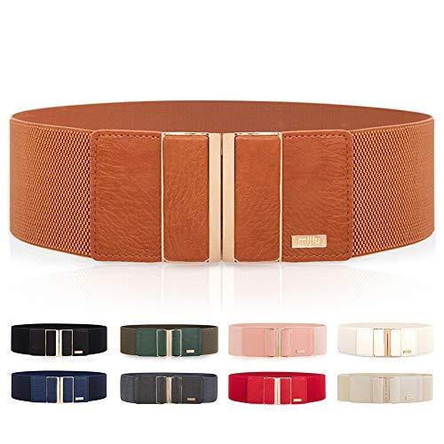 Cintura larga elasticizzata, da donna, per vestiti, cintura sottile con fibbia in metallo lucido, diversi colori disponibili Marrone Etichettalia unica