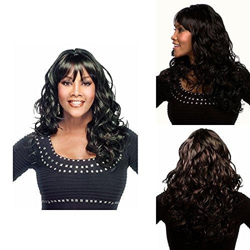 ahom (perruque Noble femelle européenne perruque longue cheveux bouclés Perruques fil haute température Noir Wave Fashion perruque cheveux