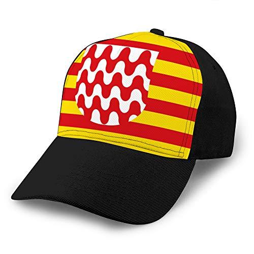 Holefg3b Gorra de béisbol Ajustable con Gorro de Vaquero para papá Vintage para Hombre La Bandera de girona es una Ciudad de España Gorra de béisbol de Mezclilla Personalizada