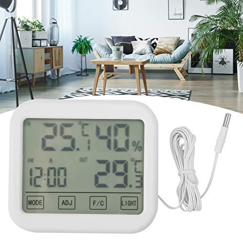 Snufeve6 Medidor de Temperatura y Humedad, Pantalla táctil ABS, Pantalla LCD de 4 Pulgadas, Monitor de Humedad, hogar de Oficina Digital para Escritorio Interior