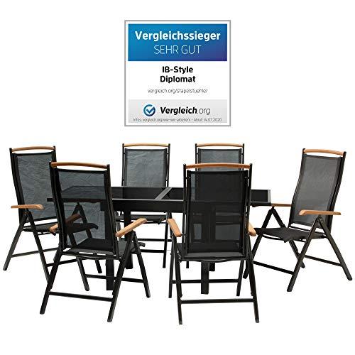 IB-Style - DIPLOMAT-Quadro Gartengarnitur | 6 Kombinationen - mit Klappstühle | Alu SCHWARZ + TEAKHOLZ + Textilen SCHWARZ | 6 Kombinationen | Ausziehtisch mit Sicherheitsglas 90 - 180 cm | Klappstühle Gartenmöbel Hochlehner Tisch | 7-teilig