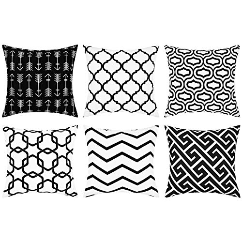 Yastouay Throw Pillow Covers Set of 6 Modern Decorative Throw Pillow Cases Geometric Pillow Covers Cushion Covers for Couch Sofa Bedroom Car (Black and White, 18 x 18 Inch)