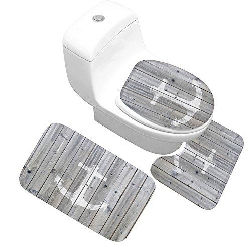 X-Life 3 Teilig Badematte Set im Ankermotiv Mikrofaserflanell Badezimmer Teppich rutschfest Badvorleger WC Vorleger mit Ausschnitt Toilettensitzabdeckung 50x80 cm