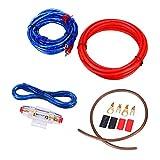 Mintice Kit de cableado para amplificador de coche de audio subwoofer AMP RCA cable de alimentación AGU FUSE calibre 14 GA AWG cable de instalación de conector soporte para furgoneta automotriz