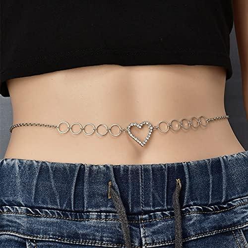 YFQHDD Women Fashion Rhinestone Heart online shop Jewelry C Max 58% OFF Waist Belt Chain