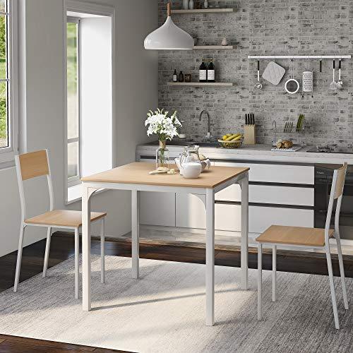 YINKUU - Juego de mesa de comedor y 2 sillas de madera con marco de acero para cocina (natural)