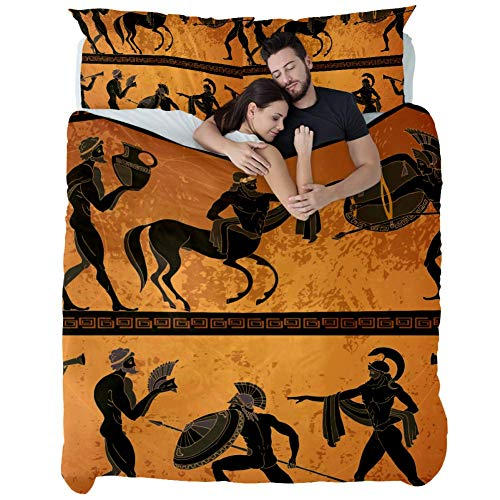Ancient Greece Scene with Black Figure Pottery Ancient Greek Mythology Duvet Cover Set Full Size,3 Piece Bedding Set with Zipper Closure and Corner Ties