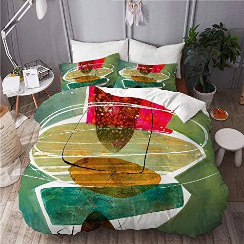 Yaoni Duvet Cover Set Abstract Painting Shapes Artwork Design Home Hotel Dorm Decorative 3pcs Bedding Set Matching 2 Pillow Shams Size