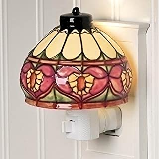 Heart Craftsman Style Stained Glass Look 4 inch Ceramic Plug-in Nightlight