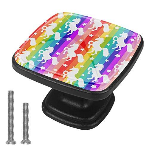 Paquete de 4 pomos de cocina para armario de cocina, mango cuadrado para cajón, herrajes de unicornio, arco iris