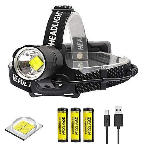 BESTSUN XHP70 Linterna Frontal Recargable, linterna frontal led alta potencia 10000 lumenes con 4 Modos alto poder & zoom capaz para espeleologia caza pesca