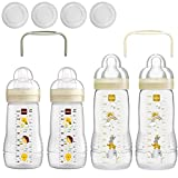 Mam biberones Easy Active 2 x Baby Bottle 270 ml & 2 x 330 ml Con Aspiradora (Talla 1 & 2 ) Incluye 2 x Hold My Bottle