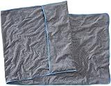 Sowel® Frottee Liegen-Auflage aus 100% Bio-Baumwolle, Strandtuch mit Kapuzenüberschlag, rutschfest für Strand- und Garten-Liegen, 220 x 80 cm, Grau/Blau