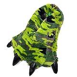 Millffy Zapatillas Divertidas Oso Grizzly Peluche Animal Peludo Garra Paw Zapatillas Niños, Niños y Adultos Disfraz Calzado (X-Large - (Talla de hombre), Camuflaje de dinosaurio verde)